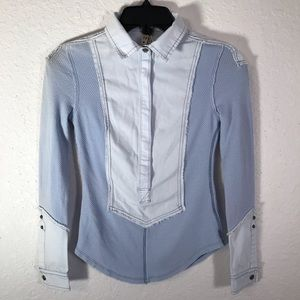 Free People NWOT light blue chambray & thermal top